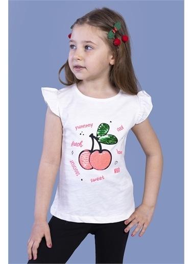 Toontoy Kids Toontoy Kız Çocuk Çevirmeli Pullu Kiraz Baskılı Tişört Ekru